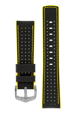 Hirsch Robby Sailcloth Effect Performance Watch Strap in Black with Yellow Rubber Lining (with Polished Silver Steel H-Active Buckle)