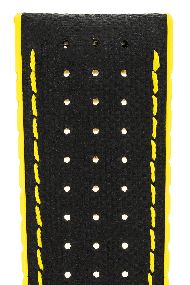 Hirsch Robby Sailcloth Effect Performance Watch Strap in Black with Yellow Rubber Lining (Close-Up Texture Detail)