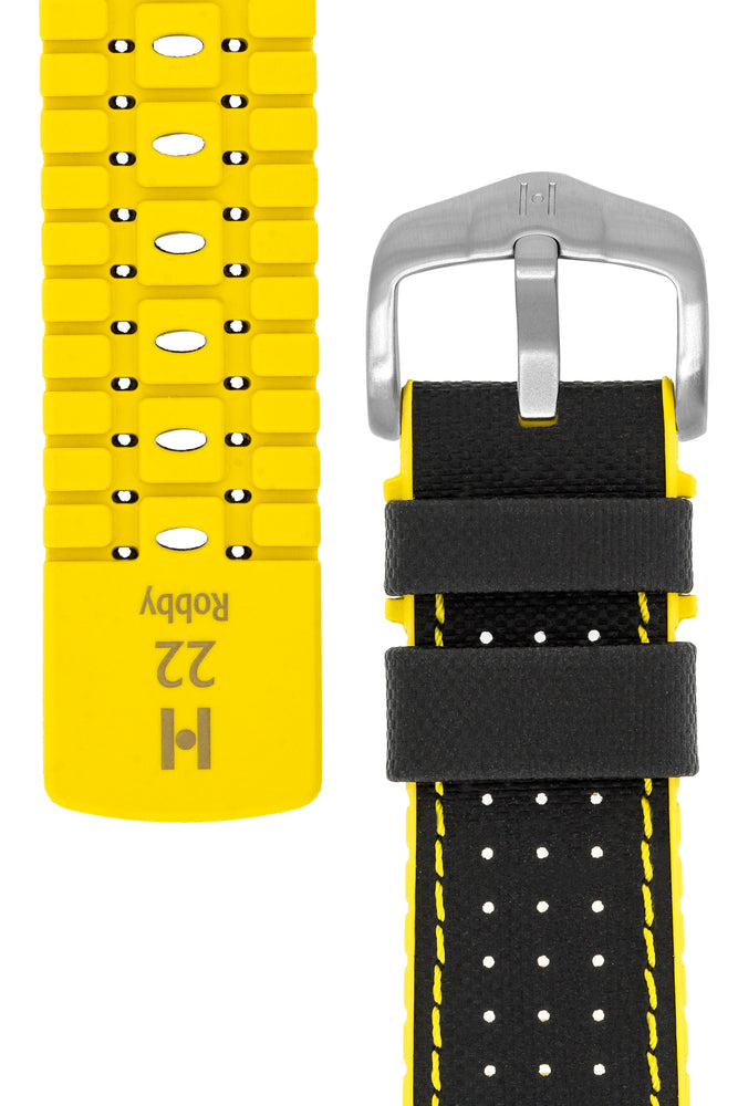 Hirsch Robby Sailcloth Effect Performance Watch Strap in Black with Yellow Rubber Lining (Underside & Tapers)