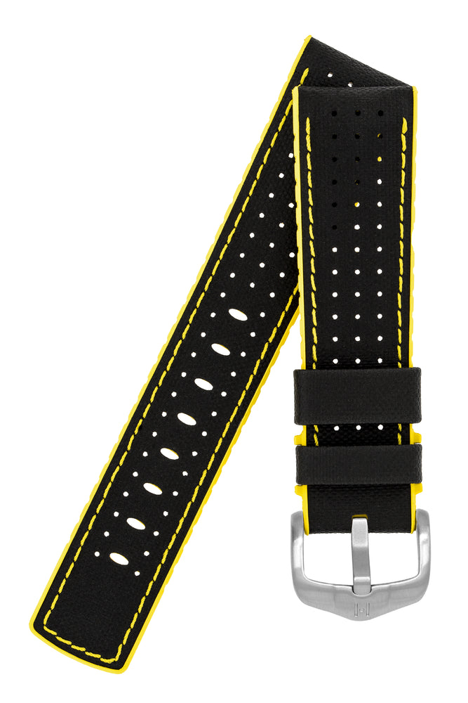 Hirsch Robby Sailcloth Effect Performance Watch Strap in Black with Yellow Rubber Lining