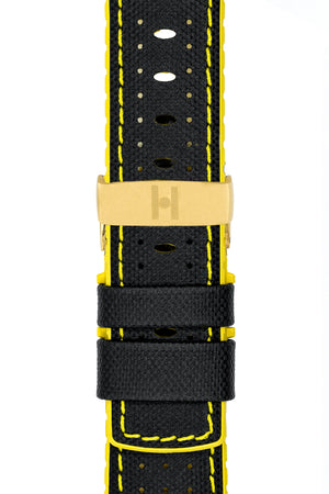 Hirsch Robby Sailcloth Effect Performance Watch Strap in Black with Yellow Rubber Lining (with Polished Gold Steel Sport Deployment Clasp)