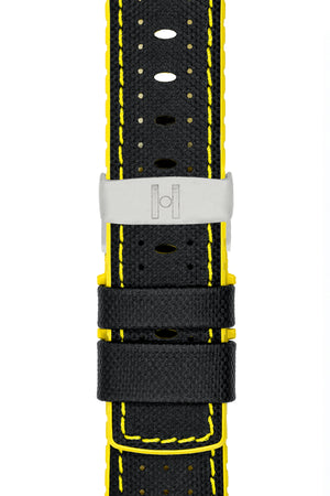 Hirsch Robby Sailcloth Effect Performance Watch Strap in Black with Yellow Rubber Lining (with Polished Silver Steel Sport Deployment Clasp)