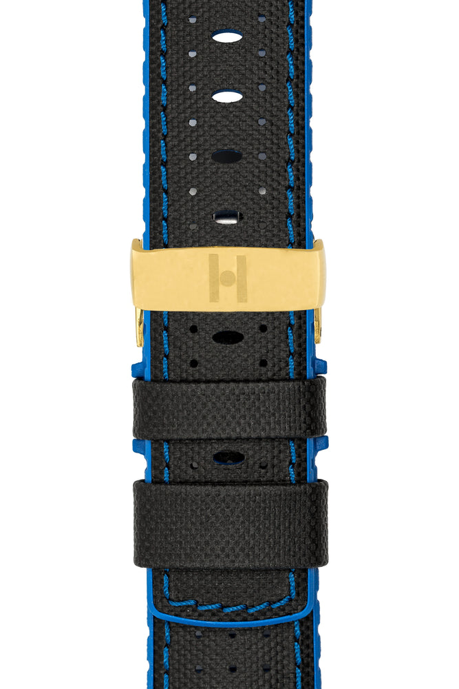 Hirsch Robby Sailcloth Effect Performance Watch Strap in Black with Blue Rubber Lining (with Polished Gold Steel Sport Deployment Clasp)