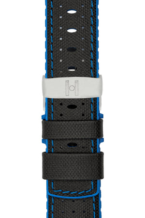 Hirsch Robby Sailcloth Effect Performance Watch Strap in Black with Blue Rubber Lining (with Polished Silver Steel Sport Deployment Clasp)