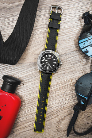 Hirsch Robby Sailcloth Effect Performance Watch Strap in Black with Yellow Rubber Lining (Promo Photo)