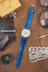 Hirsch LONDON Shiny Alligator Leather Watch Strap in ROYAL BLUE