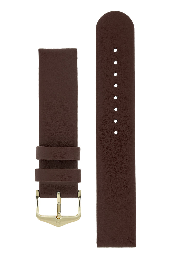 Hirsch Scandic Low-Profile Calf Leather Watch Strap in Brown (with Polished Gold Steel H-Standard Buckle)