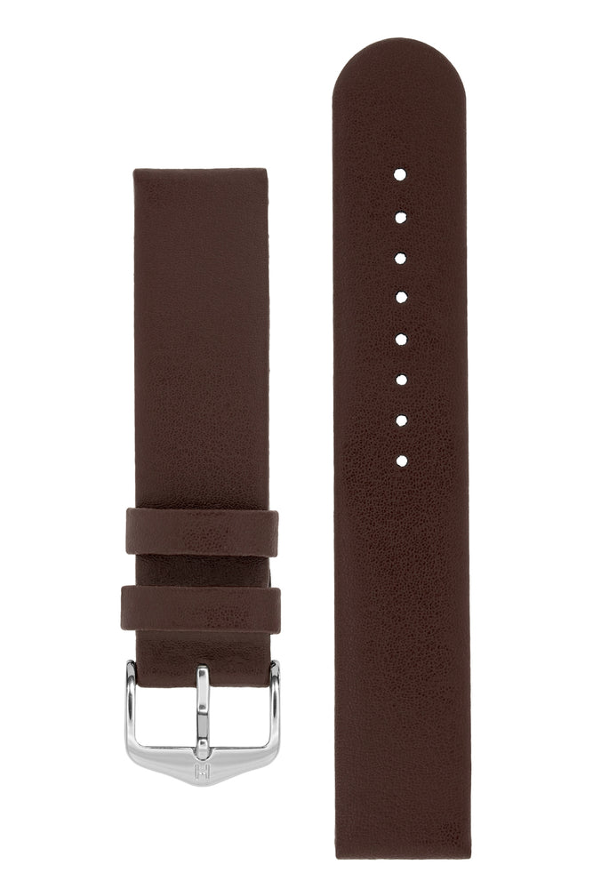 Hirsch Scandic Low-Profile Calf Leather Watch Strap in Brown (with Polished Silver Steel H-Standard Buckle)