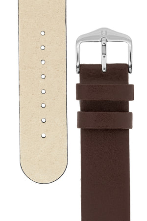 Hirsch Scandic Low-Profile Calf Leather Watch Strap in Brown (Underside & Tapers)