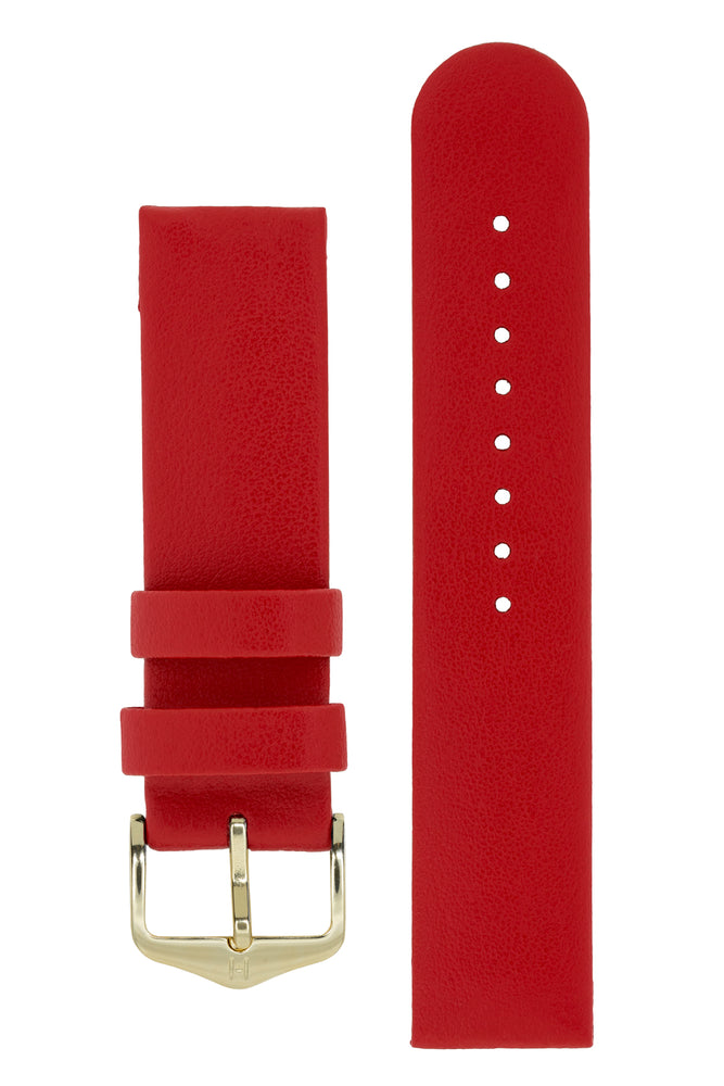 Load image into Gallery viewer, Hirsch Scandic Low-Profile Calf Leather Watch Strap in Red (with Polished Gold Steel H-Standard Buckle)