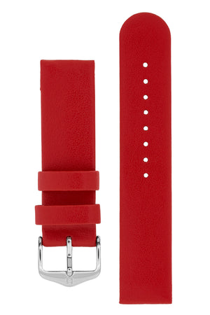 Hirsch Scandic Low-Profile Calf Leather Watch Strap in Red (with Polished Silver Steel H-Standard Buckle)