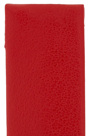 Hirsch Scandic Low-Profile Calf Leather Watch Strap in Red (Close-Up Texture Detail)