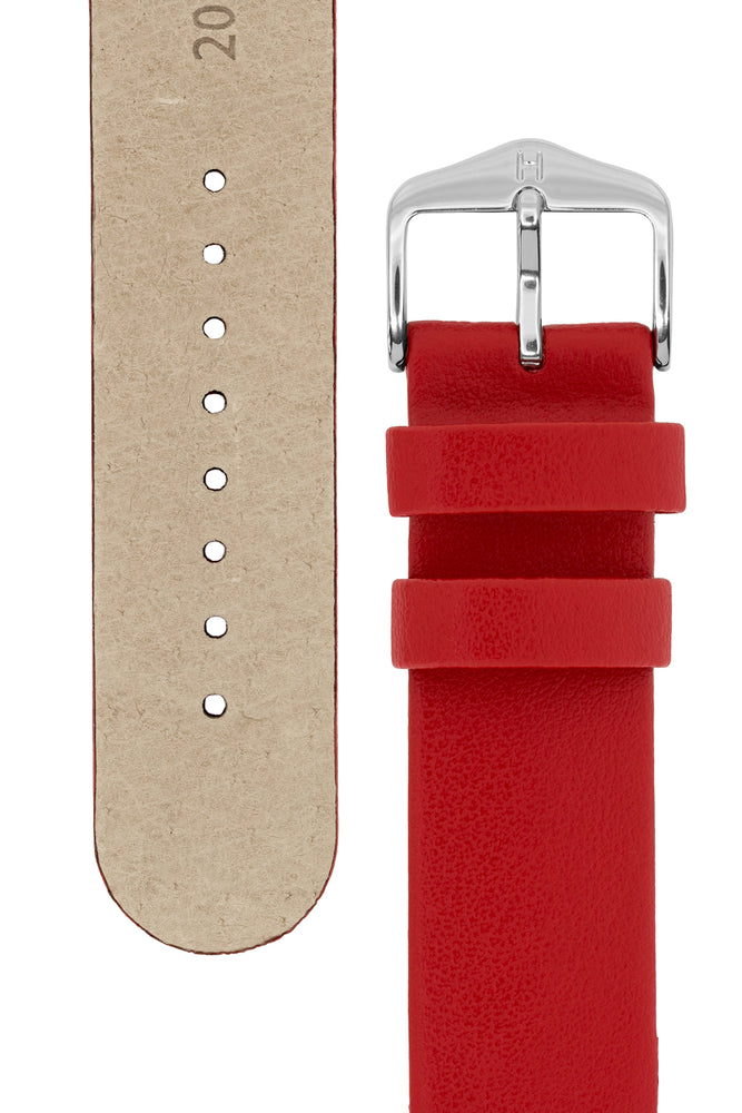 Load image into Gallery viewer, Hirsch Scandic Low-Profile Calf Leather Watch Strap in Red (Underside & Tapers)