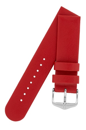 Hirsch Scandic Low-Profile Calf Leather Watch Strap in Red
