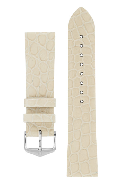 Hirsch SOBEK Crocodile Embossed Leather Watch Strap in BEIGE