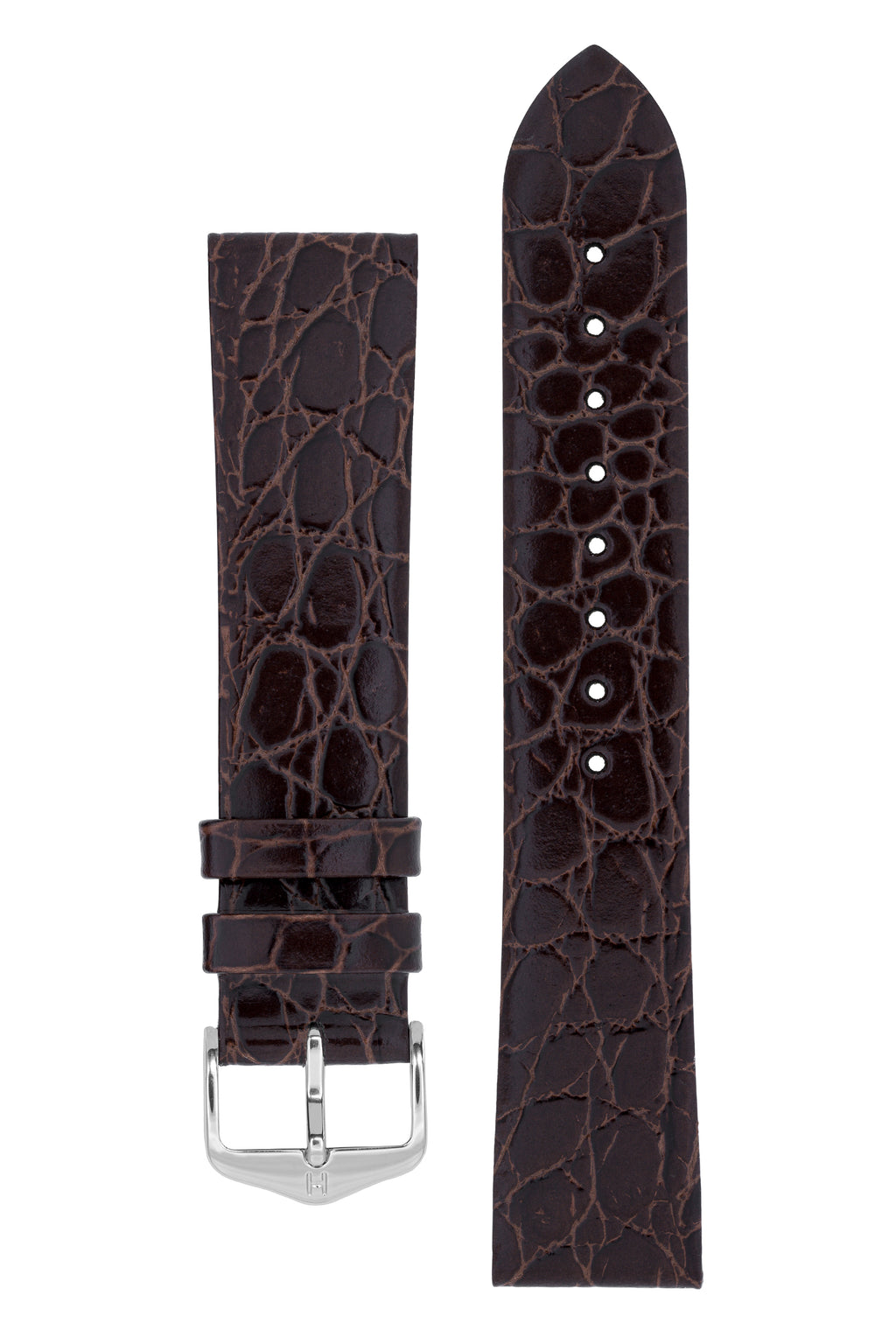 Hirsch SOBEK Crocodile Embossed Leather Watch Strap in BROWN