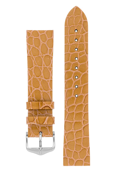 Hirsch SOBEK Crocodile Embossed Leather Watch Strap in GOLD BROWN