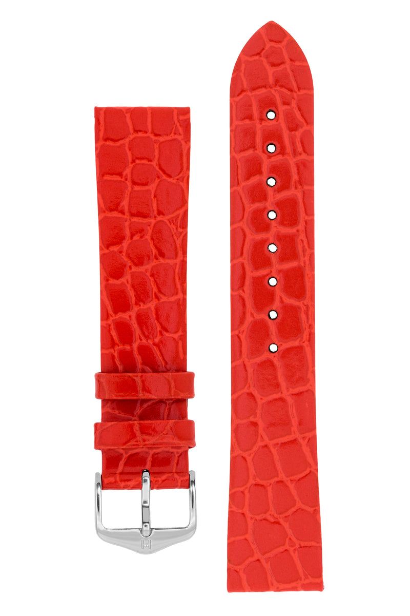 Hirsch SOBEK Crocodile Embossed Leather Watch Strap in RED