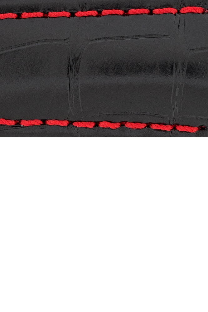 Hirsch Speed Alligator Deployment Watch Strap in Black with Red Stitch (Close-Up Texture Detail)