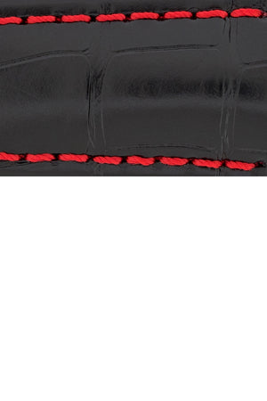 Hirsch SPEED Alligator Deployment Watch Strap in BLACK/RED