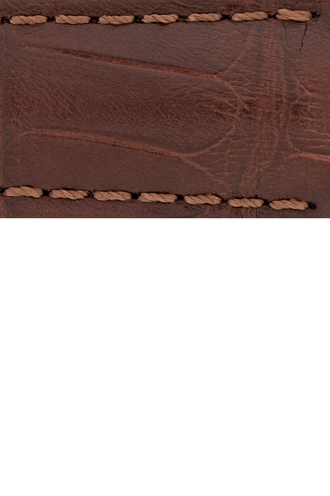 Load image into Gallery viewer, Hirsch Speed Alligator Deployment Watch Strap in Brown (Close-Up Texture Detail)