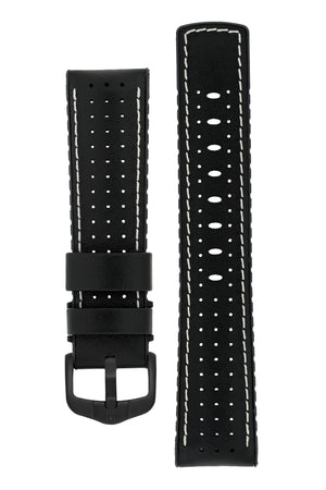 Hirsch TIGER Perforated Leather Performance Watch Strap in BLACK