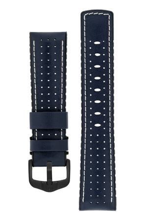 Hirsch Tiger Perforated Leather Performance Watch Strap in Blue (with Black PVD-Coated Steel H-Active Buckle)