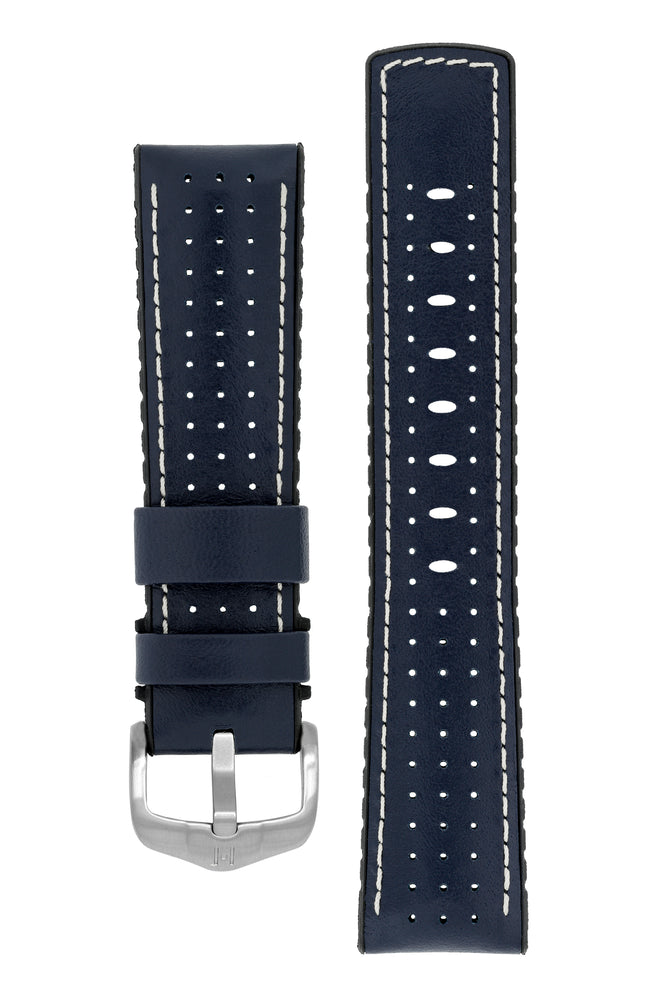 Hirsch Tiger Perforated Leather Performance Watch Strap in Blue (with Brushed Silver Steel H-Active Buckle)
