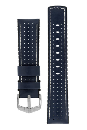 Hirsch Tiger Perforated Leather Performance Watch Strap in Blue (with Polished Silver Steel H-Active Buckle)