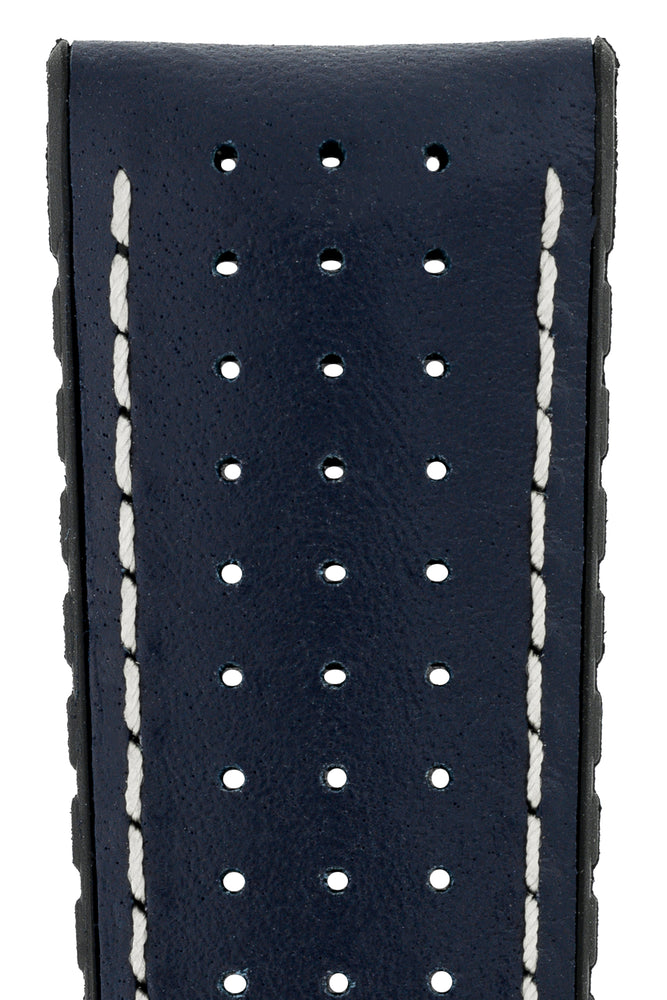 Hirsch Tiger Perforated Leather Performance Watch Strap in Blue (Close-Up Texture Detail)