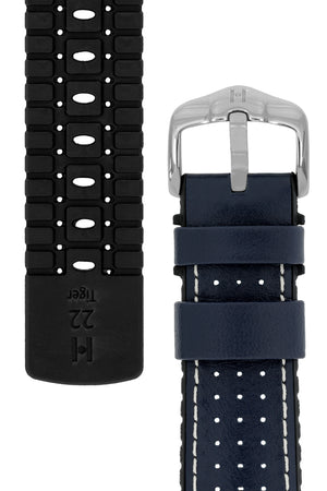 Hirsch Tiger Perforated Leather Performance Watch Strap in Blue (Underside & Tapers)