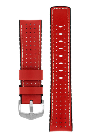 Load image into Gallery viewer, Hirsch Tiger Perforated Leather Performance Watch Strap in Red (with Brushed Silver Steel H-Active Buckle)