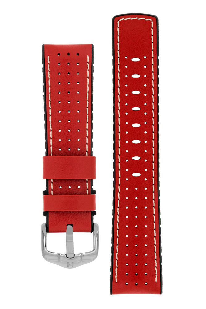 Hirsch Tiger Perforated Leather Performance Watch Strap in Red (with Polished Silver Steel H-Active Buckle)