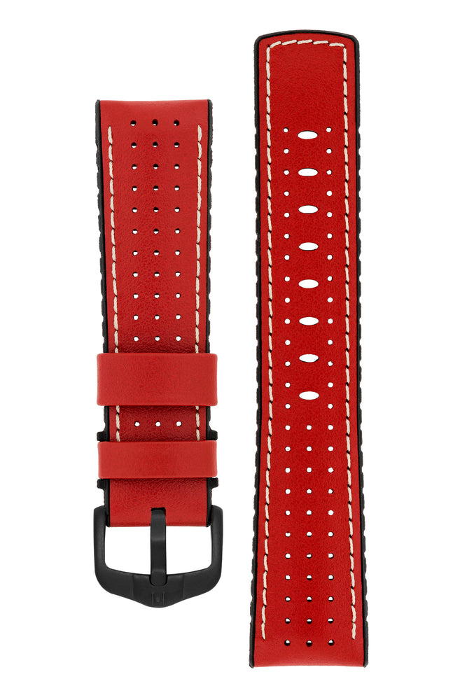 Hirsch Tiger Perforated Leather Performance Watch Strap in Red (with Black PVD-Coated Steel H-Active Buckle)