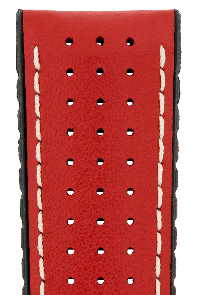 Load image into Gallery viewer, Hirsch Tiger Perforated Leather Performance Watch Strap in Red (Close-Up Texture Detail)