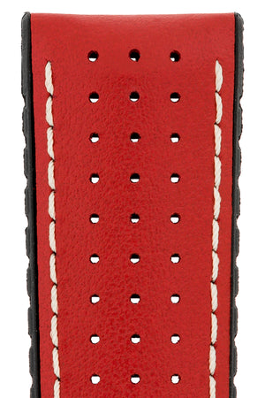Hirsch Tiger Perforated Leather Performance Watch Strap in Red (Close-Up Texture Detail)