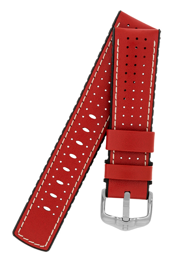 Load image into Gallery viewer, Hirsch Tiger Perforated Leather Performance Watch Strap in Red