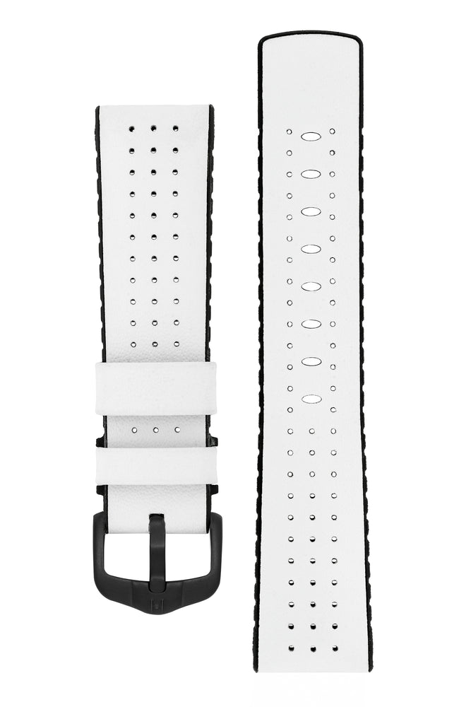 Hirsch Tiger Perforated Leather Performance Watch Strap in White (with Black PVD-Coated Steel H-Active Buckle)