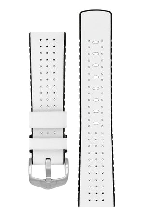 Hirsch Tiger Perforated Leather Performance Watch Strap in White (with Polished Brushed Steel H-Active Buckle)