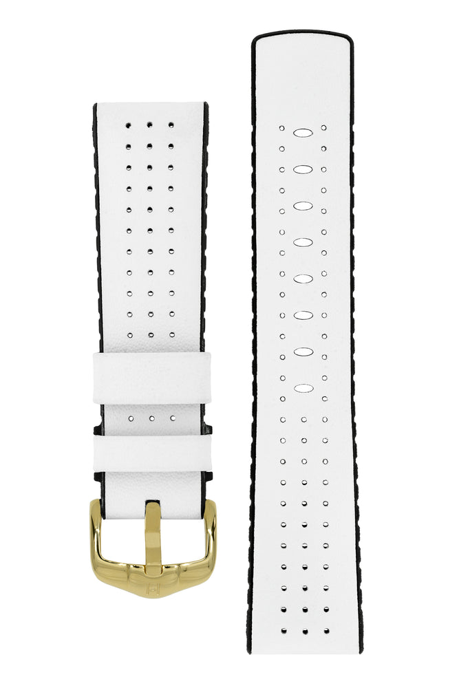 Hirsch Tiger Perforated Leather Performance Watch Strap in White (with Polished Gold Steel H-Active Buckle)