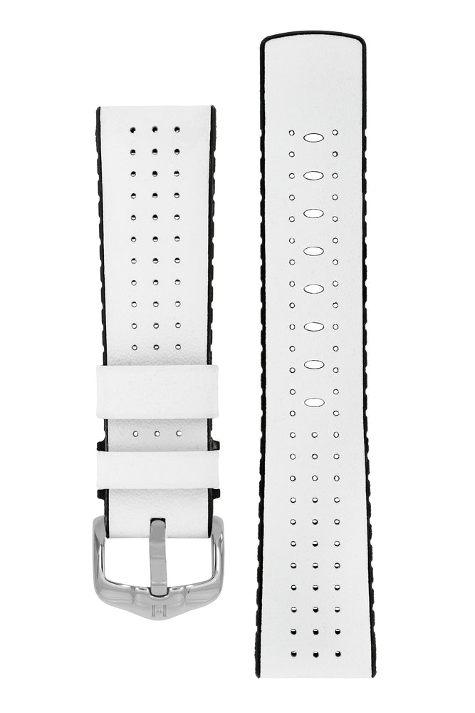 Hirsch Tiger Perforated Leather Performance Watch Strap in White (with Polished Silver Steel H-Active Buckle)