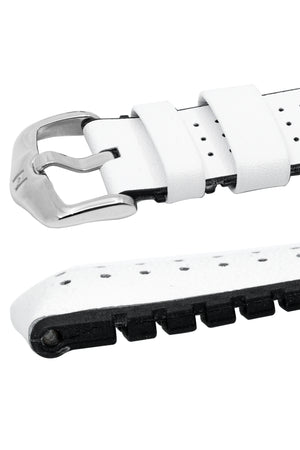Hirsch Tiger Perforated Leather Performance Watch Strap in White (Keepers & Padding)