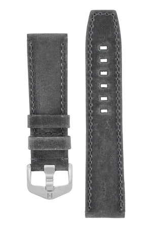 Hirsch Tritone Kudu Antelope Leather Watch Strap in Dark Grey (with Special Stainless Steel Wide-Tang Hirsch Buckle)