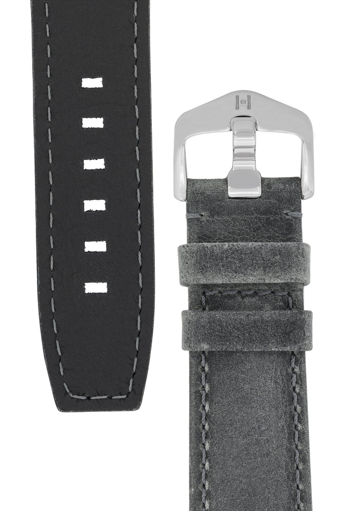 Load image into Gallery viewer, Hirsch Tritone Kudu Antelope Leather Watch Strap in Dark Grey (Underside & Tapers)