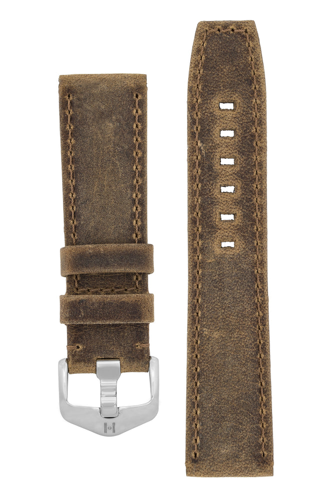 Hirsch Tritone Kudu Antelope Leather Watch Strap in Mustard Brown (with Special Stainless Steel Wide-Tang Hirsch Buckle)