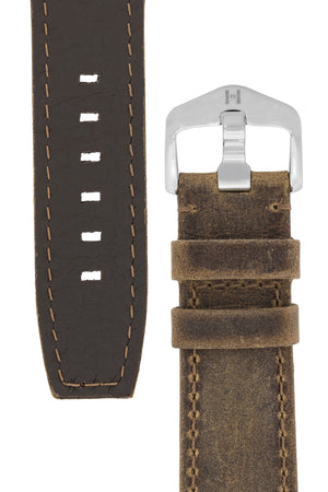 Hirsch Tritone Kudu Antelope Leather Watch Strap in Mustard Brown (Underside & Tapers)