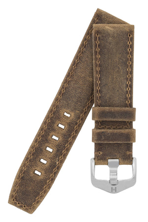 Hirsch Tritone Kudu Antelope Leather Watch Strap in Mustard Brown