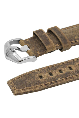 Hirsch Tritone Kudu Antelope Leather Watch Strap in Mustard Brown (Keepers & Padding)