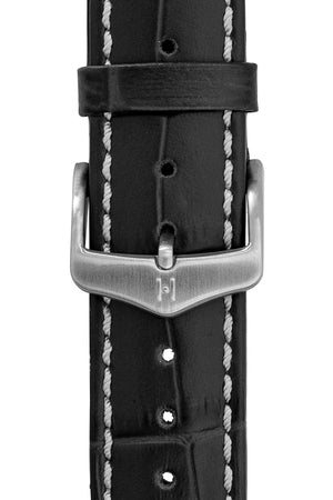 Hirsch H-Classic (HCB) Brushed Stainless Steel Buckle in Silver-Tone (Example on Leather Watch Strap)