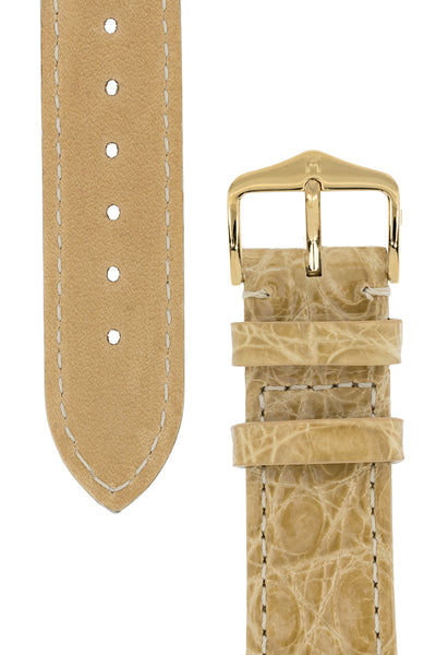Hirsch Genuine Croco Glossy Crocodile Skin Watch Strap in Beige (Tapers & Buckle)